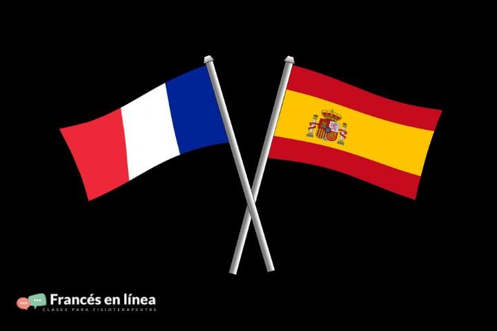 La bandera francesa y la española ocupan toda la imagen